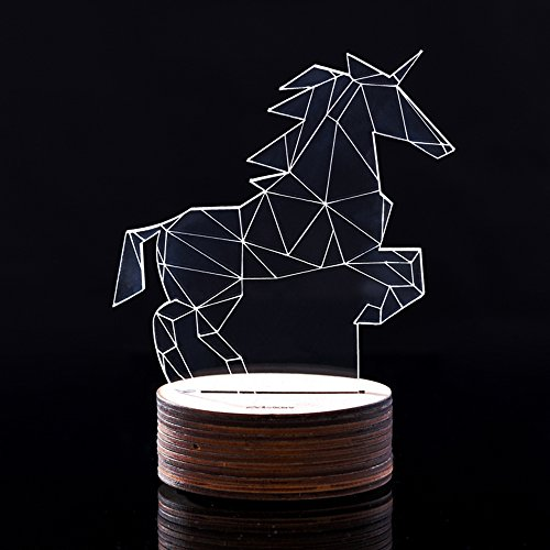 Unicorn,IVY 3D Visualization Amazing Optical Illusion LED Desk Lamp Night Light Novelty For Friend & Children & Family