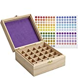 essential oil bottle holder - SOLIGT 25 Slot Wooden Essential Oil Box/case, holds 25 5-5ml&10ml Roller Bottles, Perfect Essential Oil Storage/organizer Case For Travel and Presentation(inner diameter height 3.5 inches)