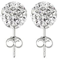 Shamballa silver stud earrings size 10MM bling bling!! CZ crystal ball