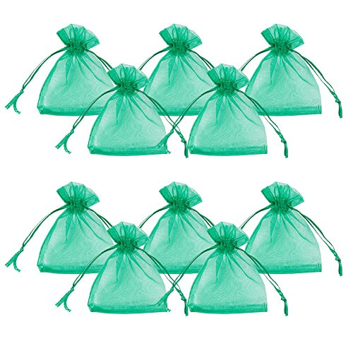 Gorgeous Organza Gift Bags (PandaHall Elite About 100pcs Organza Gift Bags Drawstring Pouches for Wedding Party Christmas Warp Favor Gift Bags Green 2.8x3.5'')