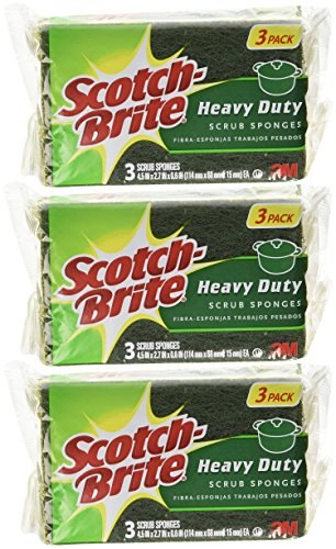 Scotch-Brite Heavy Duty Scrub Sponge, 3-Count (Pack of 3) Total 9 (3pk Scotch Brite Scrub)