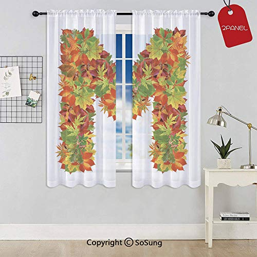 Fall Season Elements Uppercase M Colored Leaves Acorns Autumn Nature Decorative Rod Pocket Sheer Voile Window Curtain Panels for Kids Room,Kitchen,Living Room & Bedroom,2 Panels,Each 42x72 Inch,Vermi