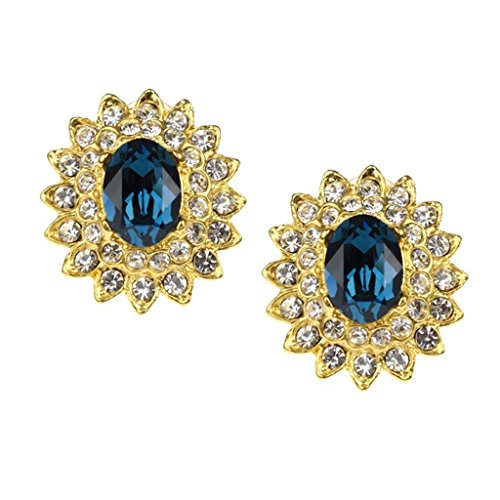 Blue Stones & Crystals Earrings as Worn by Barbara Bush Earring Clip Ons Kenneth Jay Lane