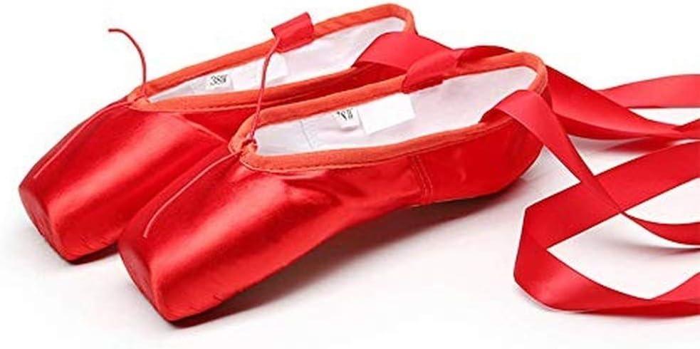 Zapatillas de Ballet de Punta Zapatos Sat/én//Lienzo con Puntera de Gel de Silicona//Esponja y Cintas para Ni/ñas por Favor Seleccione una Talla m/ás Grande