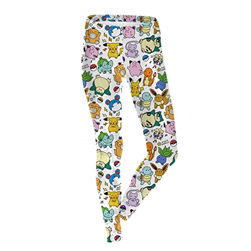 (HRJPB Summer Autumn Leggings Cartoon Pokemon Go Pikachu Print Women)