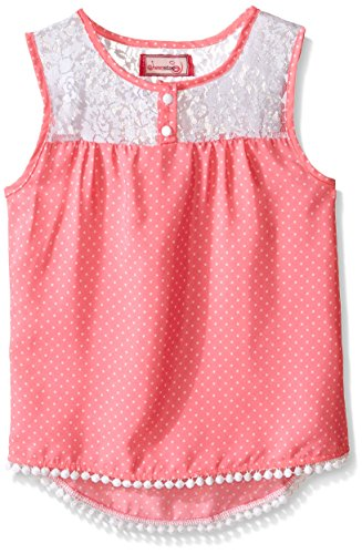 Dream Star Girls' Little Tonal Dot Print Crepe Tank with Lace Yoke, Sand Pink, Medium/5
