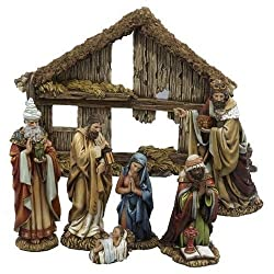 Kurt Adler 6-inch 7-piece Resin Nativity Set With Stable & 6 Figures