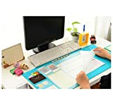 Multifunction PVC Large Size Mouse Pad Nonslip Desk Computer Mouse Mat Waterproof Desk Protector Storage Desk Pad Table Felt with Card Holders,Dividing Rule
