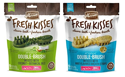 Merrick Small Dog Grain Free Dental Health Bones 2 Flavor Variety Bundle, 1 each: Fresh Kisses Coconut Oil and Fresh Kisses Mint (9 Count) by Merrick