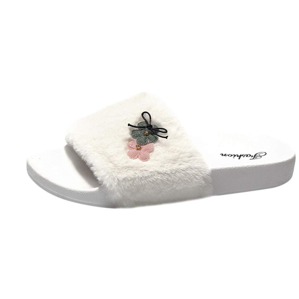 Slippers For Women, Clearance Sale !! Farjing Slip On Sliders Fluffy Faux Fur Flat Slippers Flip Flop Sandals(US:7,White1) by Farjing (Image #7)