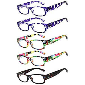 Readers 5 Pack of Elegant Womens Reading Glasses with Beautiful Patterns for Ladies Deluxe Spring Hinge Stylish Look 180 Day Guarantee +1.25