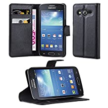 Cadorabo - Book Style Wallet Design for Samsung Galaxy CORE LTE (G386F) with 2 Card Slots and Stand Function - Etui Case Cover Protection Pouch in OXID-BLACK