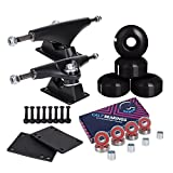 Cal 7 5.0 Inch Skateboard Trucks, 52mm Wheels, Plus Bearings Combo Set (Black truck with black wheels)