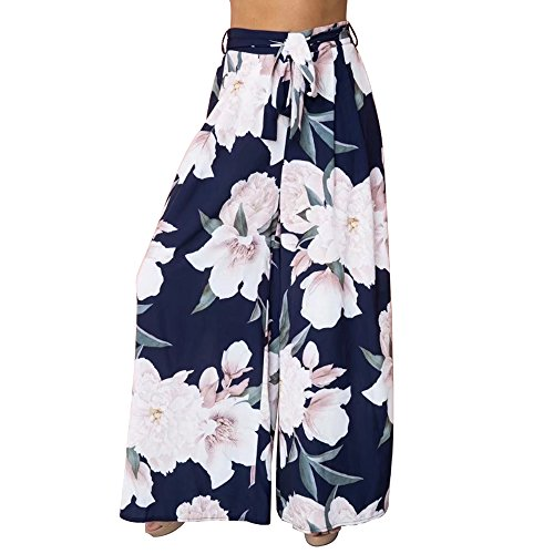 A Forever Fairness Women's Pant Chiffon Printed Loose Wide Leg Pants with Belt Print Long Trousers for Women Blue L ()