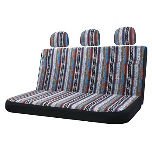 10pc Stripe Multi-Color Seat Cover Baja Saddle Blanket Weave Universal Bucket Seat Cover Fit for Cars & Vans with Steering Wheel Cover