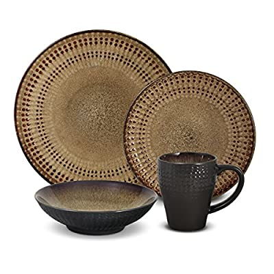 Pfaltzgraff Cambria 16-Piece Stoneware Dinnerware Set, Service for 4 - DINNERWARE SET FOR 4: This 16-piece dinnerware set, service for four, includes 4 each of: 11-1/2 inch dinner plate, 8-1/2 inch Salad plate, 7-1/2 inch bowl and 12-ounce mug BEAUTIFUL DETAILS AND DESIGN: Embossed beadwork is highlighted in earth tones of browns and reds that bring a natural and sophisticated look and feel to your table DURABLE AND HIGH QUALITY: Made from high quality stoneware for long lasting beauty and durability - kitchen-tabletop, kitchen-dining-room, dinnerware-sets - 518BpphrKLL. SS400  -