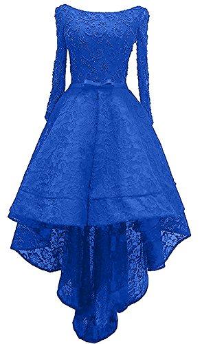 lo Abendkleider Partykleider Damen Charmant Hi Spitze Ballkleider Langarm Hell Schwarz Royal Blau Asymettrisch Wunderschoen Yw0aqH