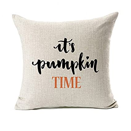 Pillow Quotes Best Amazon Pumpkin Time Quotes Happy Fall Throw Pillow Case Cushion