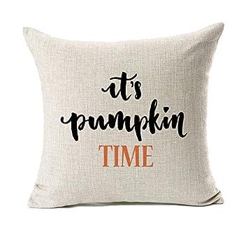 Amazon.com: Pumpkin Time Quotes Happy Descenso Throw funda ...
