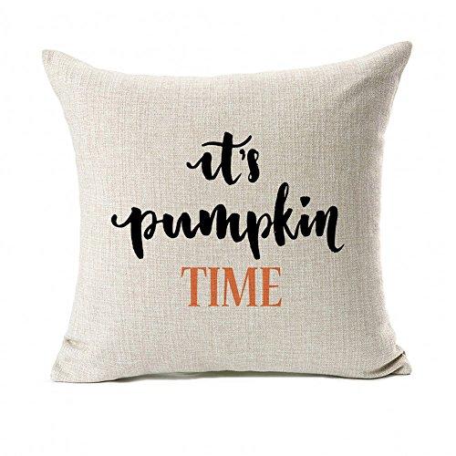 Pumpkin Time Quotes Happy Fall Throw Pillow Case Cushion Cover Decor Cotton Linen 18