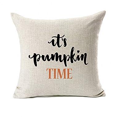 Pumpkin Time Quotes Happy Fall Throw Pillow Case Cushion Cover Decor Cotton Linen 18  x 18