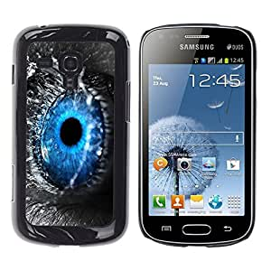 Qstar Arte & diseño plástico duro Fundas Cover Cubre Hard Case Cover para Samsung Galaxy S Duos / S7562 ( Blue Eye Water Drop Macro Nature Grey)
