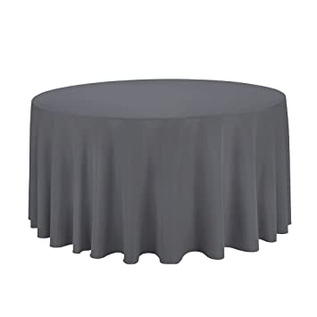Nice LinenTablecloth Round Polyester Tablecloth, 120 Inch, Charcoal