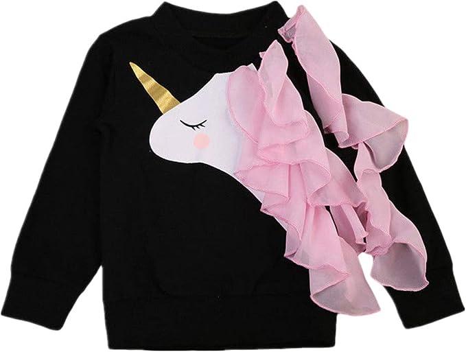 IPBEN Unicornio Manga Larga Algodón Camiseta para Bebé Niñas 0-6 ...