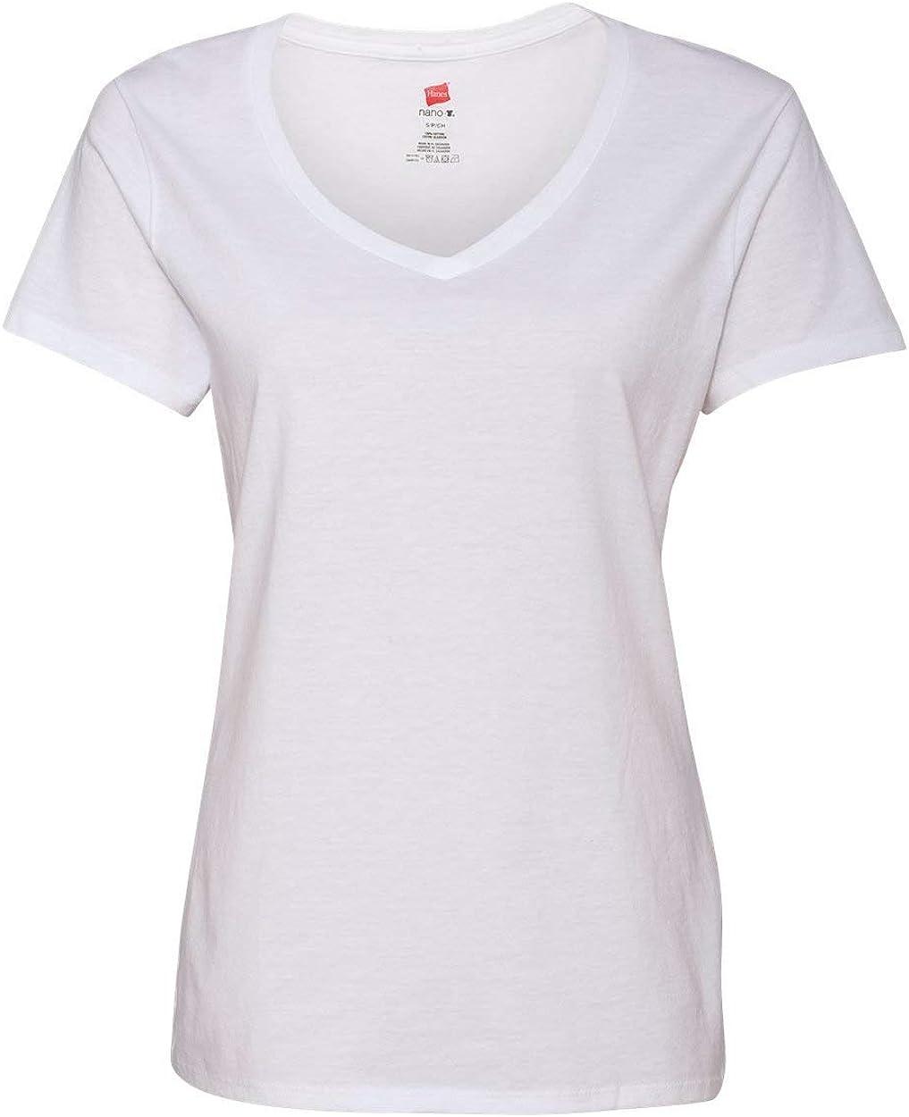 Hanes Womens Short Sleeve Nano-T V-Neck Tee