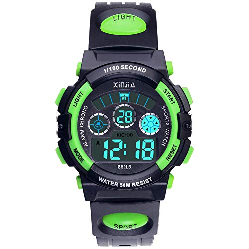 - Kids Digital Watch, Boys 50M(5ATM) Waterproof 7 Colors LED Multifunctional Sports Outdoor Wrist Watches with Alarm for Children Ages 6-15(Black-Green)