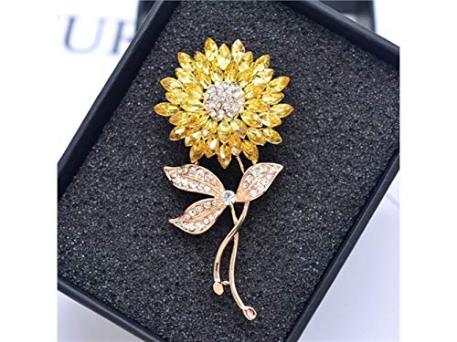 Yunqir Fashion Sunflower Brooch Plant Corsage Crystal Jewelry Clothes Brooches for Women's Gift(Gold+Yellow) (Color : Golden+Yellow, Size : 6.5x3cm) (Sunflower Crystal Brooch)