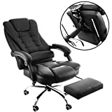 OrangeA High Back Office Chair Ergonomic PU Leather Executive Office Chair 360 Degree Swivel Reclining Office Chair with Footrest Black Computer Desk Chair (Executive chair) Review