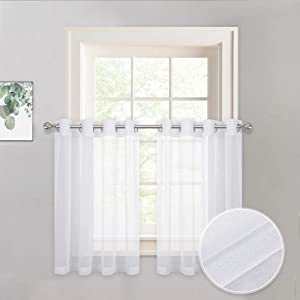 PONY DANCE Sheer Cafe Curtains - 55 Wide by 36 Long White Window Valances Linen Look Short Voile Drapes Semi-Sheer Blinds Grommet Linen for Kitchen Bathroom, 2 Pieces