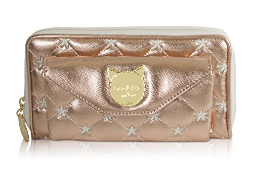 Betsey Johnson Luv Boxed Quilted Star Bamey Zip Around Continental Wallet - Rose Gold Metallic ()