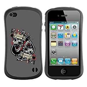 Be-Star Impreso Colorido Diseño Antichoque Caso Del Iface Primera Clase Tpu Carcasa Funda Case Cubierta Par Apple iPhone 4 / iPhone 4S ( ace spades skull crown king grey )