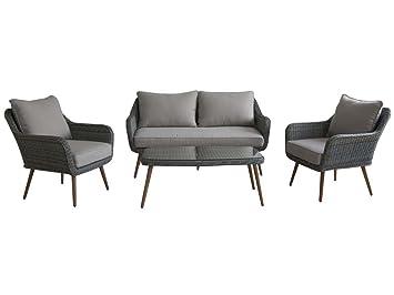 Salón de jardín en resina trenzada Olbia - 1 sofá + 2 ...