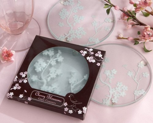 Cherry Blossoms' Frosted Glass Coasters - 24 sets in total