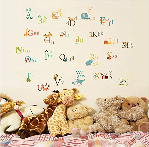 Wall Sticker Decal English Alphabet Animal Letters Kids Room Decor Mural Nursery Daycare and Kindergarten DIY Removable
