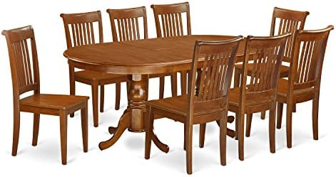 PLPO9-SBR-W 9 PC Dining room set for 8-Dining Table with 8 Dining Chairs