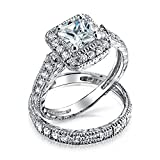 Silver Princess CZ Deco Style Engagement Wedding Ring Set