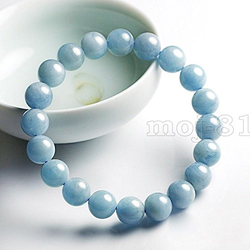 "Natural 6mm Brazilian Aquamarine Round Gemstone Beads Bangle Bracelet 7.5"" AAA"