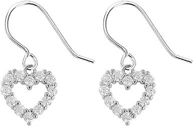 925 Sterling Silver Glass Bead Heart Drop Earring