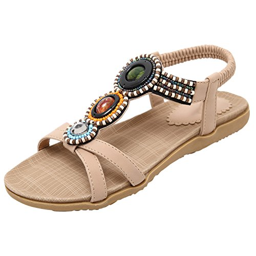 Azbro Women's Summer Rhinestone Bead Slip On Thong Flat Sandals, Black EURO41/US10/UK8