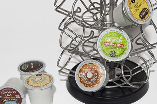 K-Cup Storage Deluxe Steel Spinning Carousel, 24 ct. Keurig (Black/Chrome Base)