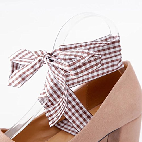 AIYOUMEI Damen Chunky Heel Pumps mit 5cm Absatz Blockabsatz High Heels Schuhe mit Bandagen Rosa