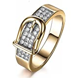 Clearance! Fashion Simple Belt Shaped Gold Finger Ring Crystal Zirconia Ring For Women Jewelry (Gold, 9)