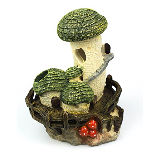 YSLDSNX Aquarium Ornaments Fish Tank Supplies Decorations Landscape Scenery Bookcase Accessories Resin Decor Mushroom Castle House Plant Big Large Cave Handmade