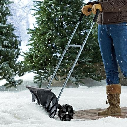 Heavy Duty Adjustable Rolling Snow Pusher With 6'' Rubber Wheels by Bandwagon