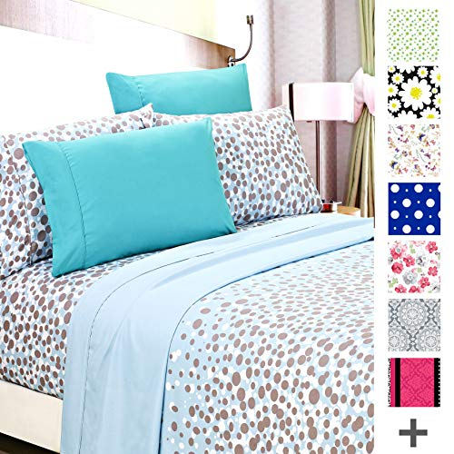American Home Collection Deluxe 6 Piece Printed Sheet Set Highest Quality Of Brushed Fabric, Deep Pocket Wrinkle Resistant - Hypoallergenic (Twin, Aqua Bubbles)
