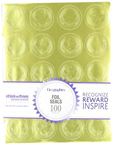 Geographics Gold Embossed Foil Seal, 100 per Pack (20014) (Gold Sticker Envelope Seal compare prices)